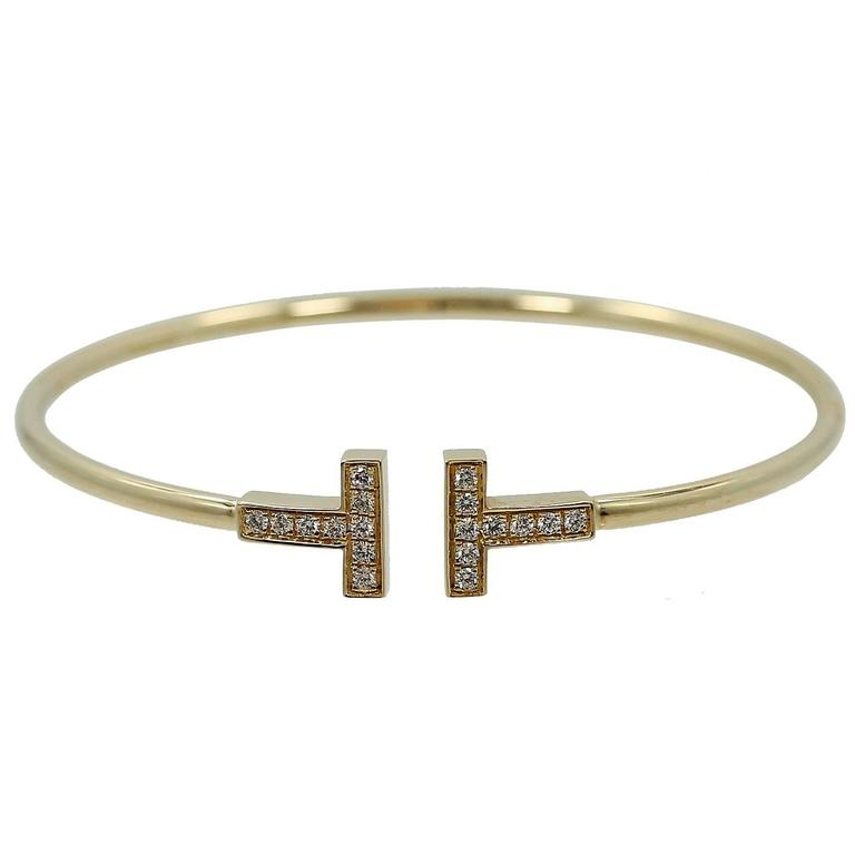 Tiffany & Co. T Diamond Gold Wire Bracelet 1