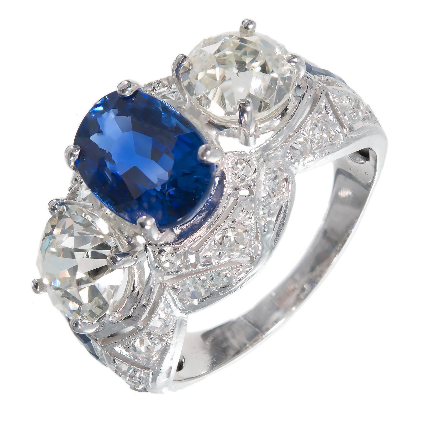 Cornflower Blue Oval Sapphire Diamond Platinum Engagement Ring