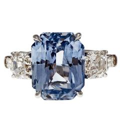 Peter Suchy Light Blue Sapphire Diamond Platinum Engagement Ring
