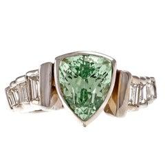 Mint Green Tsavorite Garnet Diamond Gold Ring