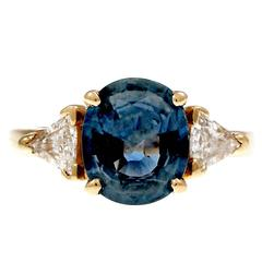 Natural Blue Oval Sapphire Diamond Three-Stone Gold Engagement Ring