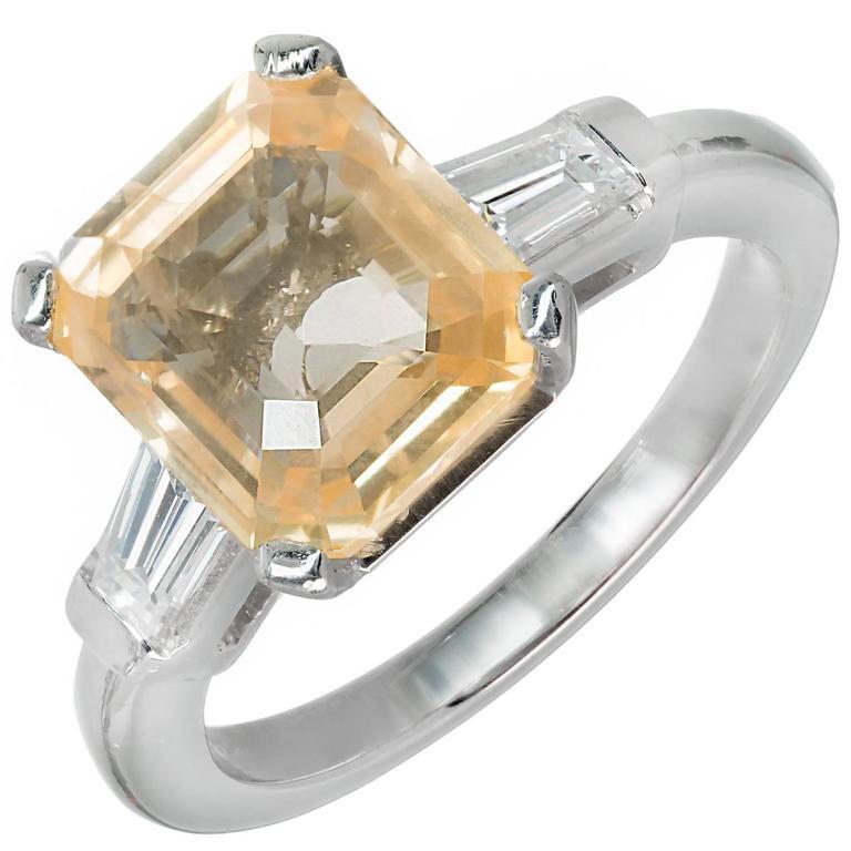 6.04 Carat Orange Yellow Emerald Cut Sapphire Diamond Platinum Engagement Ring