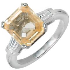 6.04 Carat Orange Yellow Emerald Cut Sapphire Diamond Platinum Ring
