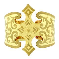 Crevoshay Hand Engraved Gold Cuff Bracelet