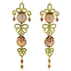 Crevoshay Exquisite Handmade Pearl Tourmaline Diamond Gold Earrings