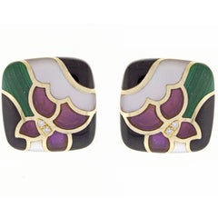 Asch Grossbardt Inlaid Gemstone Diamond Gold Earrings