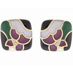 Asch Grossbart Inlaid Gemstone Diamond Gold Earrings