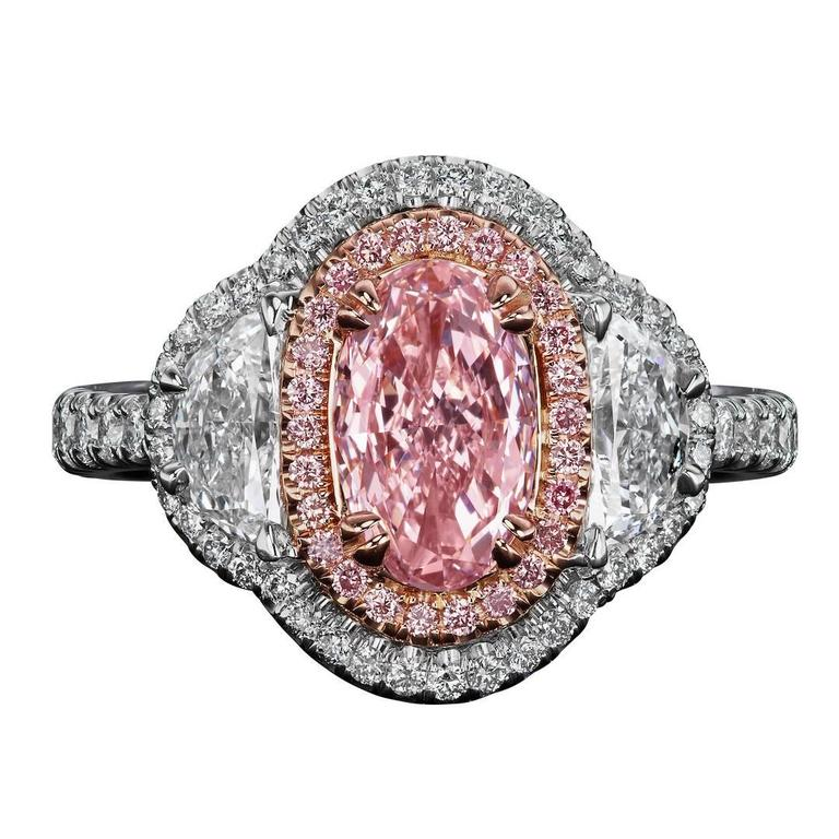 1.00 Carat GIA Certified Fancy Color Pink Oval Diamond Gold Platinum Ring