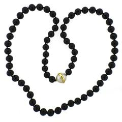1980s Tiffany & Co. Paloma Picasso Pearl Onyx Gold Necklace