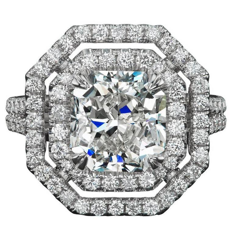 3.51 Carat Radiant Cut Diamond Gold Engagement Ring