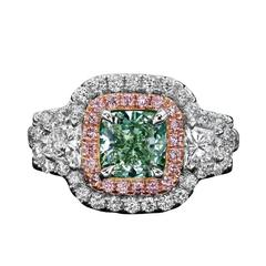 1.59 Carat GIA Certified Mint Green Fancy Color Diamond Two-Color Gold Ring