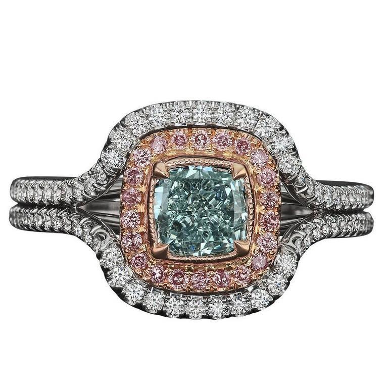 1.01 Carat Cushion Very Light Green GIA Certified Diamond Ring