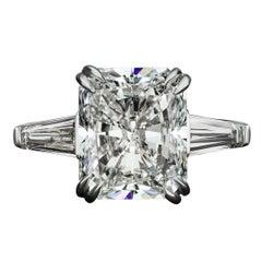 David Rosenberg 6.05 Carat Radiant J/SI2 GIA Three-Stone Diamond Engagement Ring