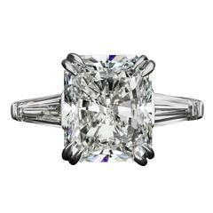 David Rosenberg GIA Certified Radiant Cut 6.05 Carat Platinum Engagement Ring