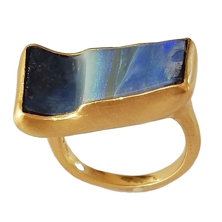 Dalben Rectangular Boulder Opal Gold Ring 1
