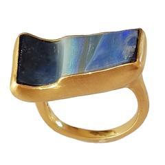 Dalben Rectangular Boulder Opal Gold Ring