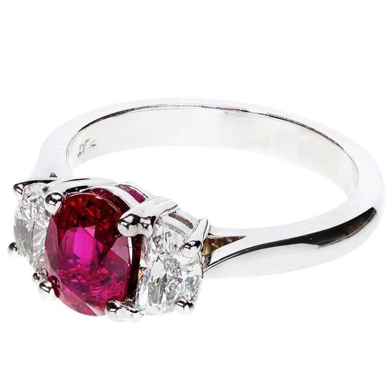 Peter Suchy Oval Natural Ruby Half Moon Diamond Platinum Engagement Ring