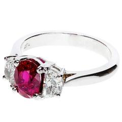 Peter Suchy Oval Natural Ruby Half Moon Diamond Platinum Ring
