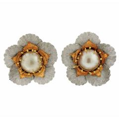 Buccellati Large Tri Color Gold Pearl Flower Earrings