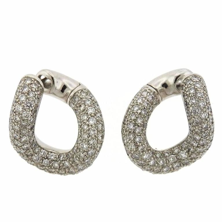 Pomellato Gourmette Gold Diamond Twisted Hoop Earrings at 1stdibs
