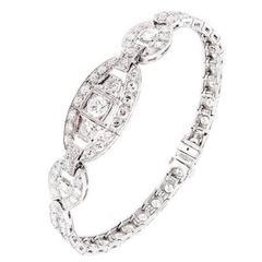 Art Deco Round Square Diamond Platinum Hinged Link Bracelet
