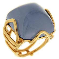 Valentin Magro Large Chalcedony Cushion Cabochon Ring