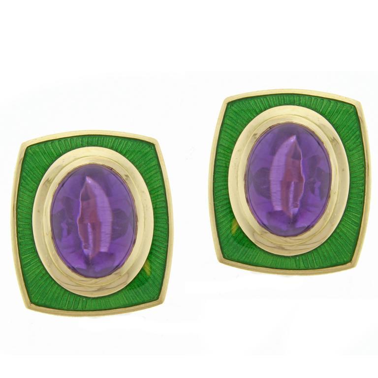 Leo De Vroomen Amethyst  and Enamel Earrings