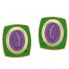 Leo De Vroomen Amethyst  and Enamel Earrings