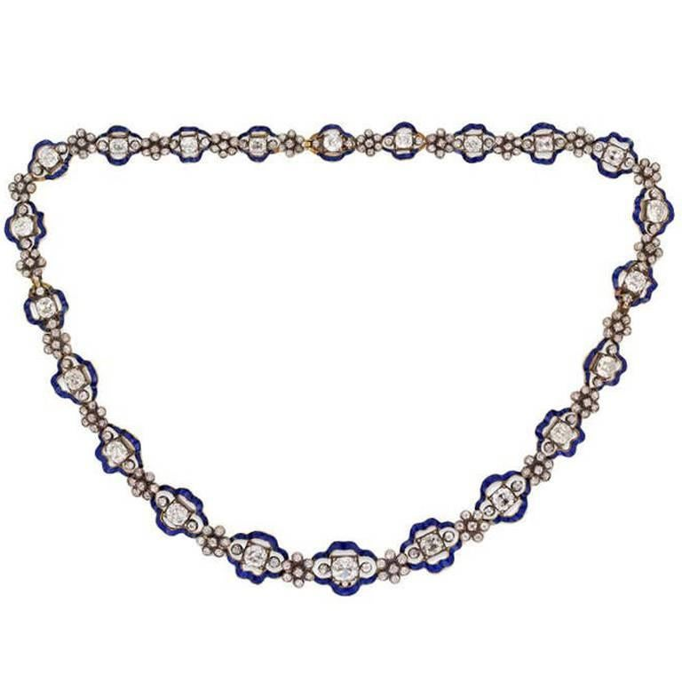Regency Diamond Blue Enamel Cluster Necklace For Sale