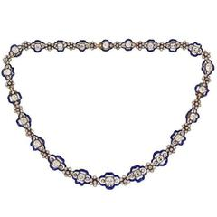 Regency Diamond Blue Enamel Cluster Necklace