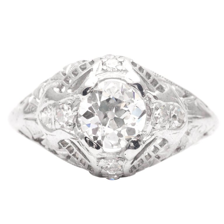 Art Deco 0 75 Carat Diamonds Platinum Filigree Engagement Ring For Sale at 1s