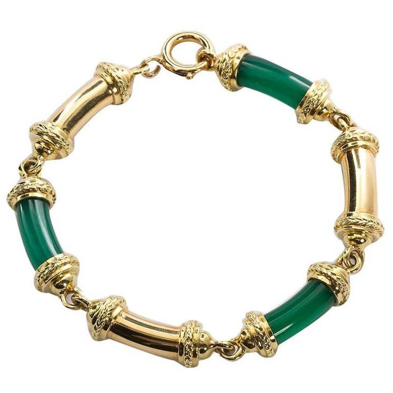 Tiffany & Co. Gold Jade Tube Bracelet