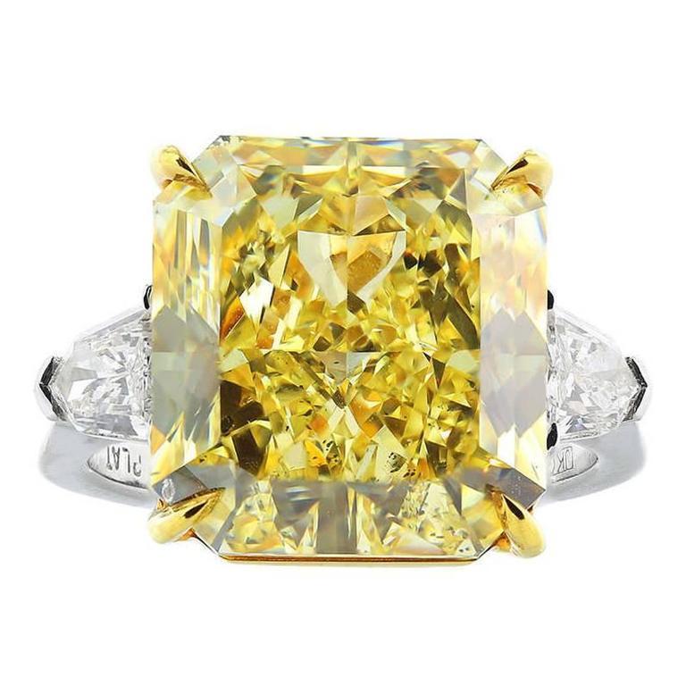 12.03 Carat Fancy Yellow Canary Diamond Gold Platinum Ring