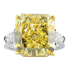 12.03 Carat Fancy Yellow Canary Diamond Gold Platinum Ring