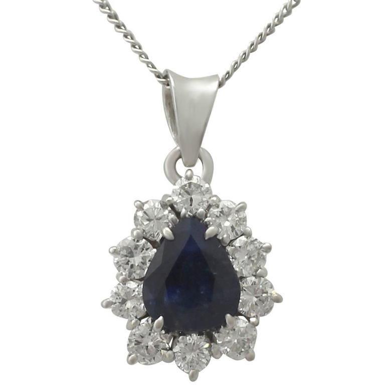 1970s 1.25 Carat Sapphire and 0.50 Carat Diamond, 14k White Gold Pendant For Sale