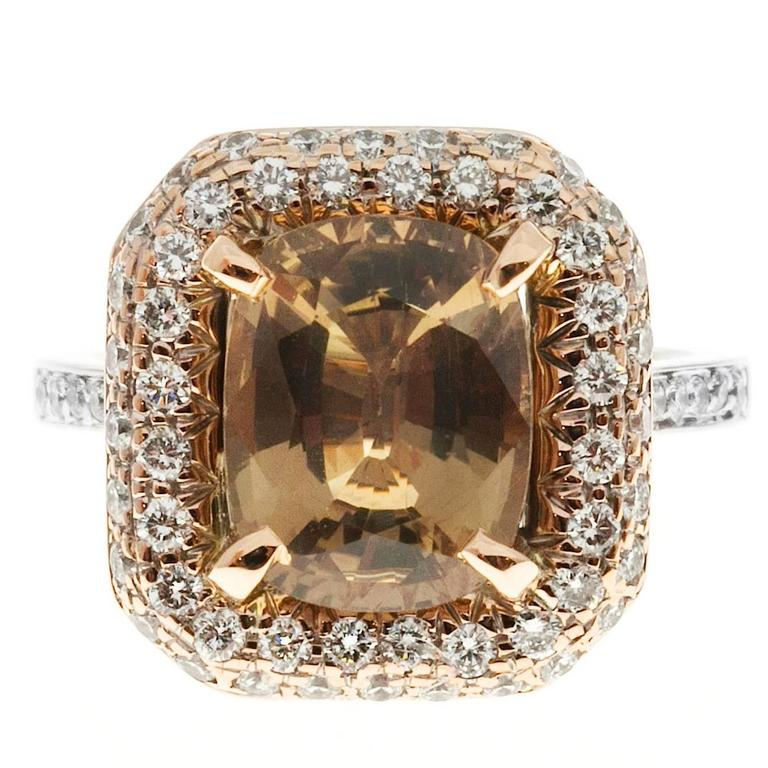 Brown Sapphire Diamond Gold Engagement Ring For Sale