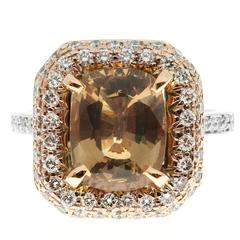 Brown Sapphire Diamond Gold Engagement Ring