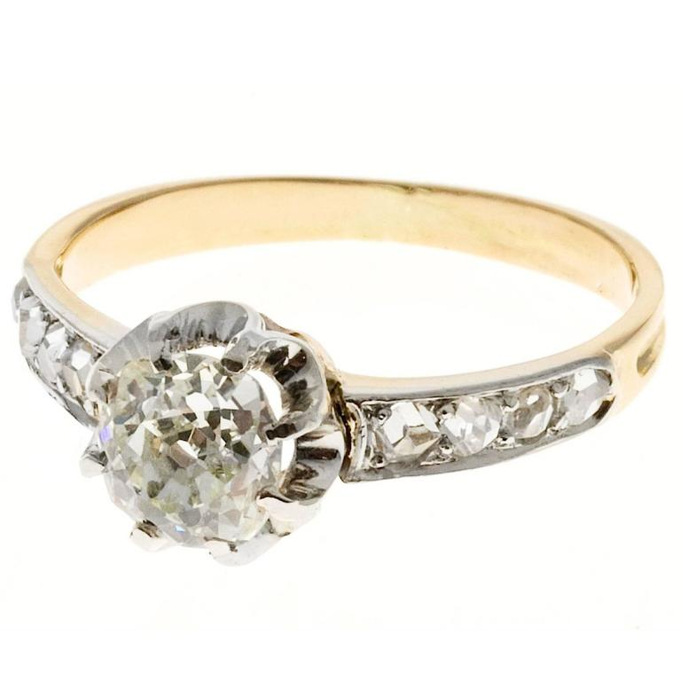 Victorian Cushion Cut Diamond Gold Platinum Engagement Ring