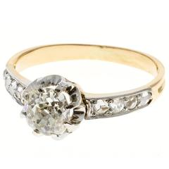 Victorian Cushion Cut Diamond Gold Platinum Engagement Ring