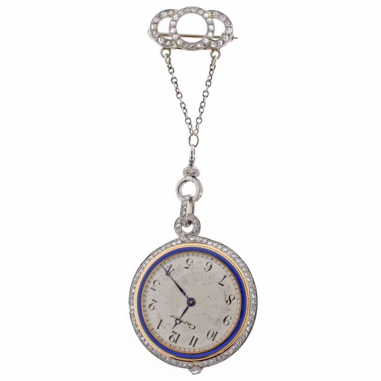 1920s Cartier Enamel Diamond Gold Platinum Lapel Watch