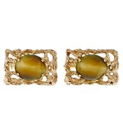 Quartz Tiger Eye Gold Cufflinks