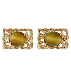 Quartz Tiger Eye Gold Cufflinks