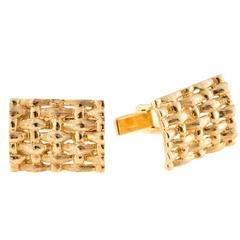 Solid Domed Textured Woven Gold Cufflinks