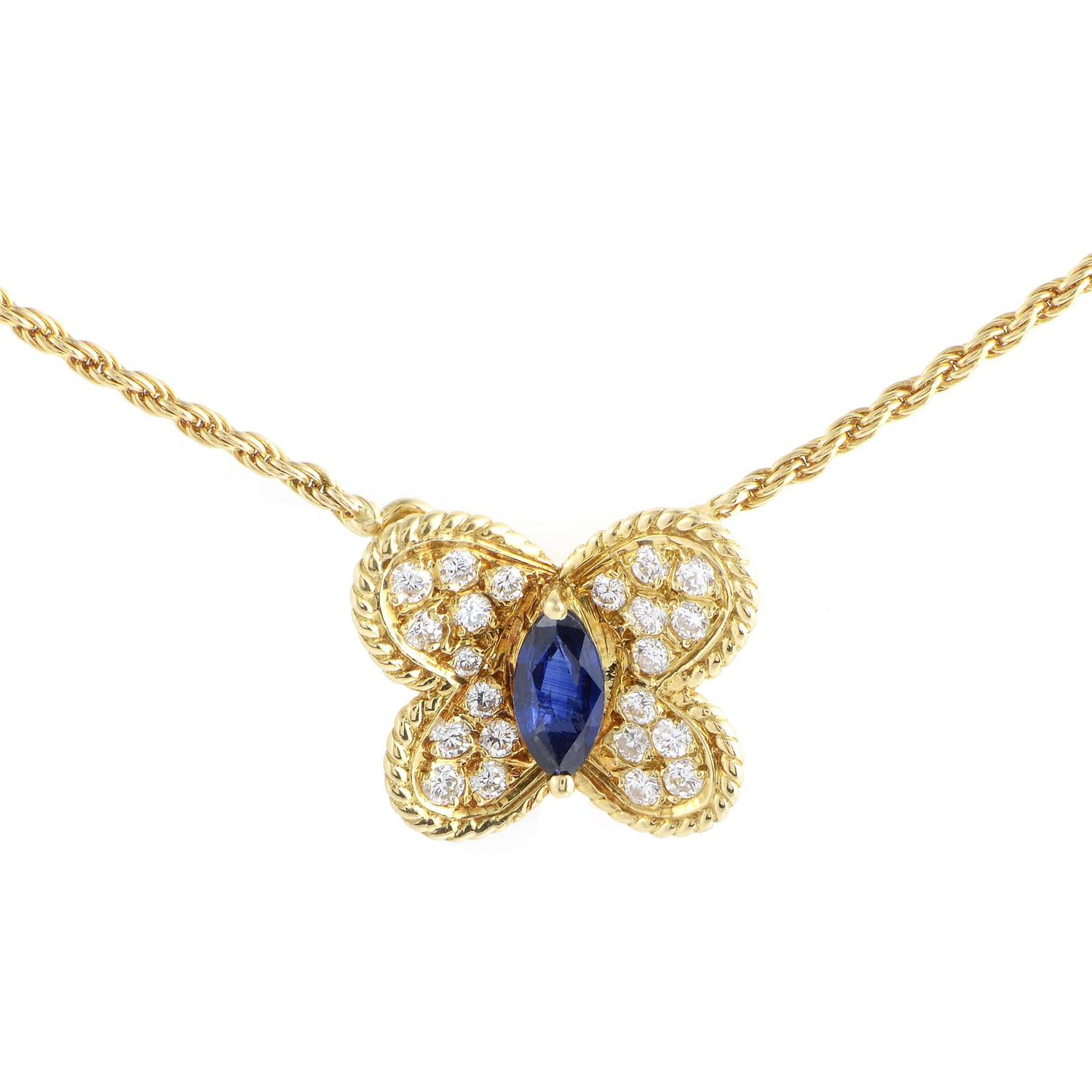 Graff Sapphire Diamond Gold Butterfly Pendant Necklace For Sale at