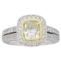18 Karat Sylvie Light Yellow Diamond Halo Engagement Ring