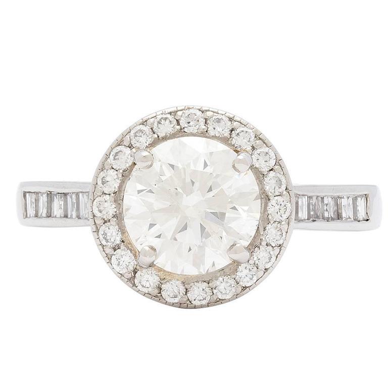1.57 Carat GIA Cert Round Brilliant Cut Diamond Platinum Halo Ring