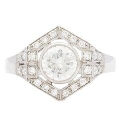 1.18 Carat GIA Certified Diamond Platinum Hexagon Halo Ring