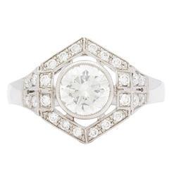 1.18  Carat GIA Cert Diamond Platinum Hexagon Halo Ring