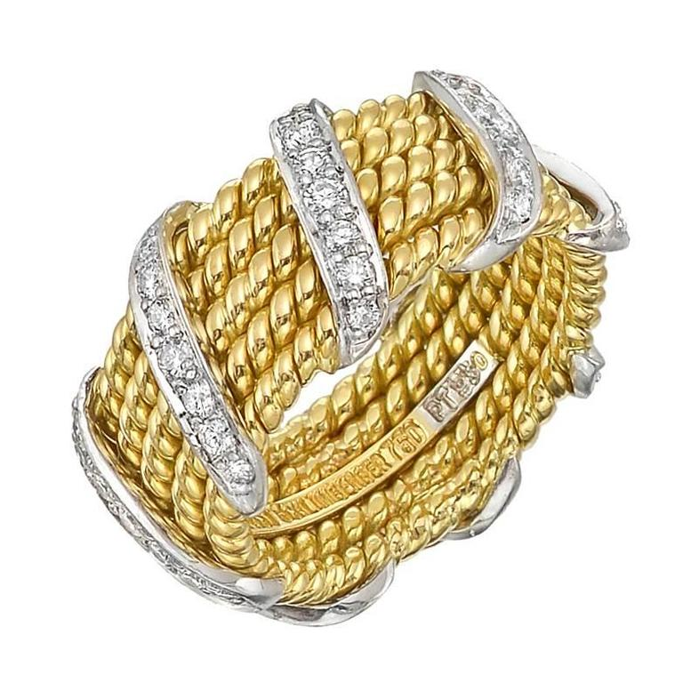 Tiffany and Co Schlumberger Diamond Gold Wrap Band Ring For Sale