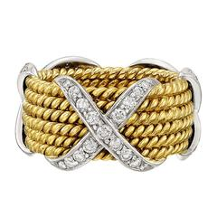 """Tiffany & Co. Schlumberger Diamond """"X"""" Gold Rope Wide Band Ring"""